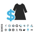 Dress Price Flat Icon With Bonus vector image
