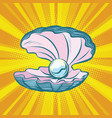 open seashell with pearl vector image