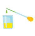 pipette adding fluid to a beaker cartoon vector image
