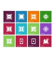 Processor Computer hardware icons on color vector image