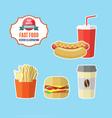 Set of fast food meals vector image