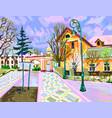 digital painting of rural landscape vector image vector image