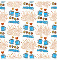 cute seamless pattern with hand drawn sketchy tea vector image