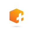 Cross plus cube medical logo icon design template vector image