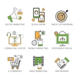 Social network outline icons set of communication vector image