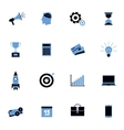 Black and blue business icons flat set vector image