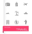 black travel icons set vector image
