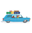Man and woman Travel by car with his dog baggage vector image