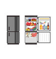 open and close refrigerator kitchen fridge with vector image