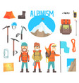 three mountaineers and mountaineering equipment vector image