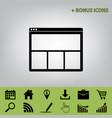 web window sign black icon at gray vector image