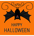 Happy Halloween card Cute hanging bat Cartoon vector image