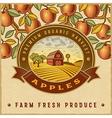 Vintage colorful apple harvest label vector image