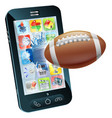 american football ball cell phone vector image vector image