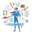 colorful plumbing round concept vector image vector image