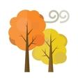 Golden autumn trees flat vector image