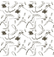seamless pattern with twigs seeds and acorns vector image