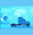 cargo truck trailer vehicle over world map vector image