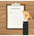 compliance concept agreement with hand hold pencil vector image