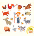 set funny farm little animals cartoon character vector image