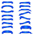 Set of the blue ribbons with golden straights vector image