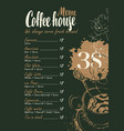 coffee menu with price list and cup of hot coffee vector image