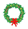 Christmas Wreath of Green Maple Leaves and Red Bow vector image