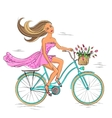 Girl on the bike isolated on white vector image vector image