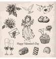 set of hand drawn vintage valentines day vector image