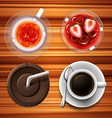 Drinks in glass and cups vector image