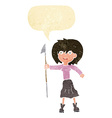 cartoon woman with harpoon with speech bubble vector image