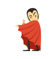 Count dracula vampire looks out from under the vector image