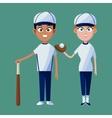 couple player baseball cap glove bat and ball vector image
