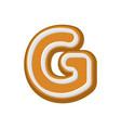 letter g gingerbread peppermint honey-cake font vector image
