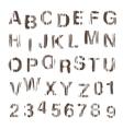 Stamp alphabet vintage wooden style vector image