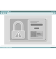 Window frame design with lock icon and QR code vector image