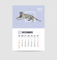 2017 December calendar Tiger polygon vector image
