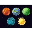 Comic planets and stars set for space vector image