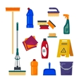 Cleaning service Set house cleaning tools icons vector image