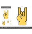 Rock and roll hand line icon vector image