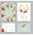 Wedding Invitation Card with Lily and Roses vector image vector image
