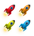rocket red icon 3d realistic color set object vector image
