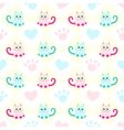 seamless background with cats and heart vector image vector image