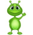 Cute green alien cartoon vector image vector image