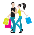 shopping girl and boy vector image vector image