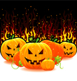 red fire with pumpkins vector image vector image