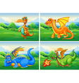 Four dragons in the field vector image