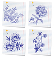 Hand-drawn doodle flower set in sketchbook vector image
