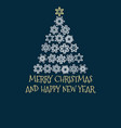 christmas tree created from snowflakes with text vector image