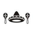 Mexican sombrero and maracas vector image
